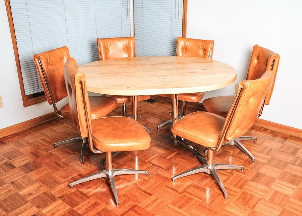 Chromcraft Dinettes: Atomic Mid-Century Modern Chromcraft Kitchen Table And
