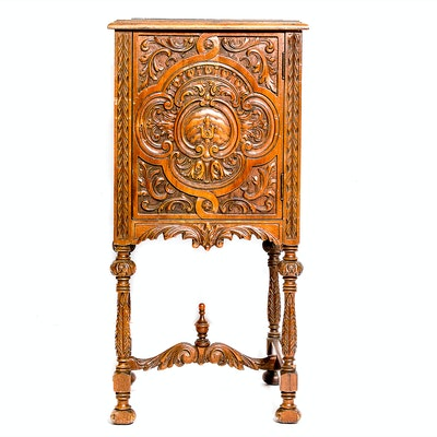 Carved Wood Cabinet - Online Furniture Auctions Vintage Furniture Auction Antique
