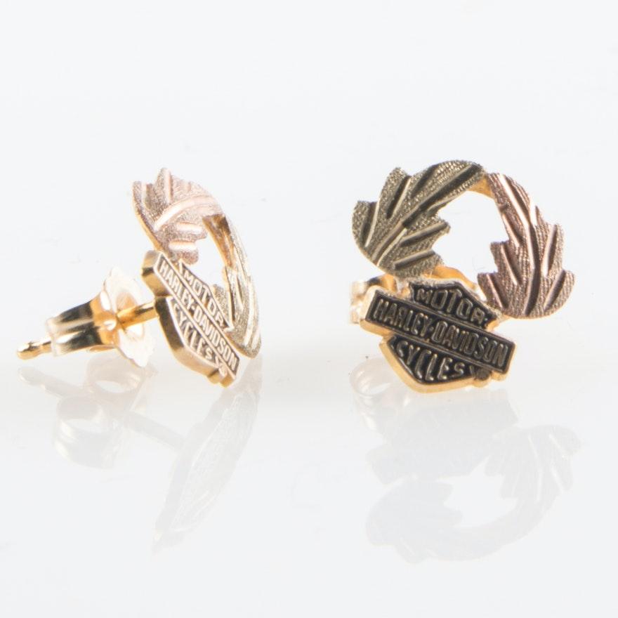 3580870c4 Black Hills Gold Harley Davidson Motorcycles Logo and Leaf Tri Color  Earrings ...