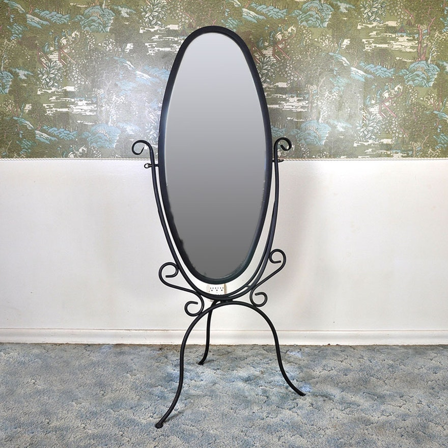 Powell Brand Wrought Iron Floor Mirror : EBTH