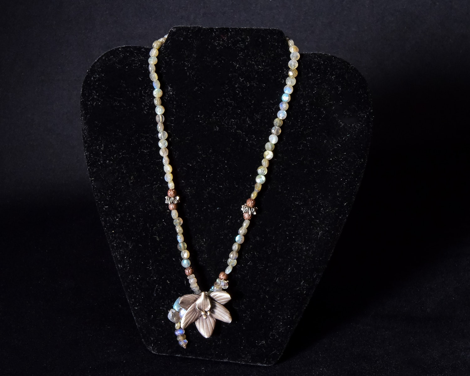 Labradordite and Sterling Orchid Necklace