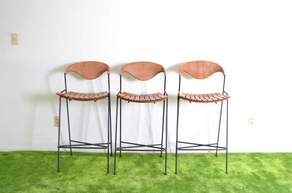 Three Mid Century Modern Bar Stools Designed By Arthur
