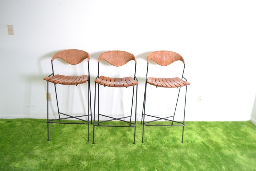 Three Mid Century Modern Bar Stools Designed By Arthur