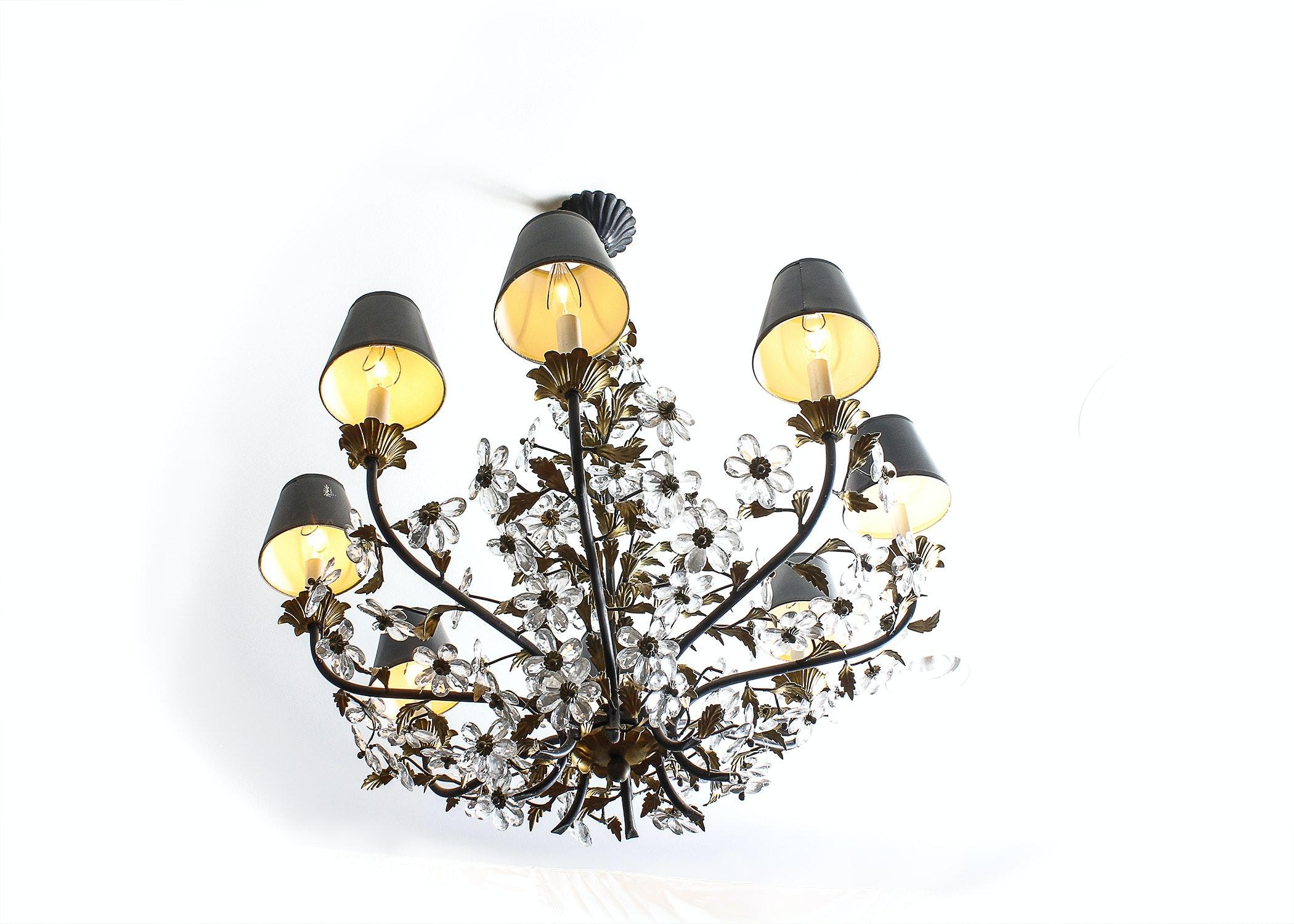 1940s Style Italian Crystal Flower Chandelier