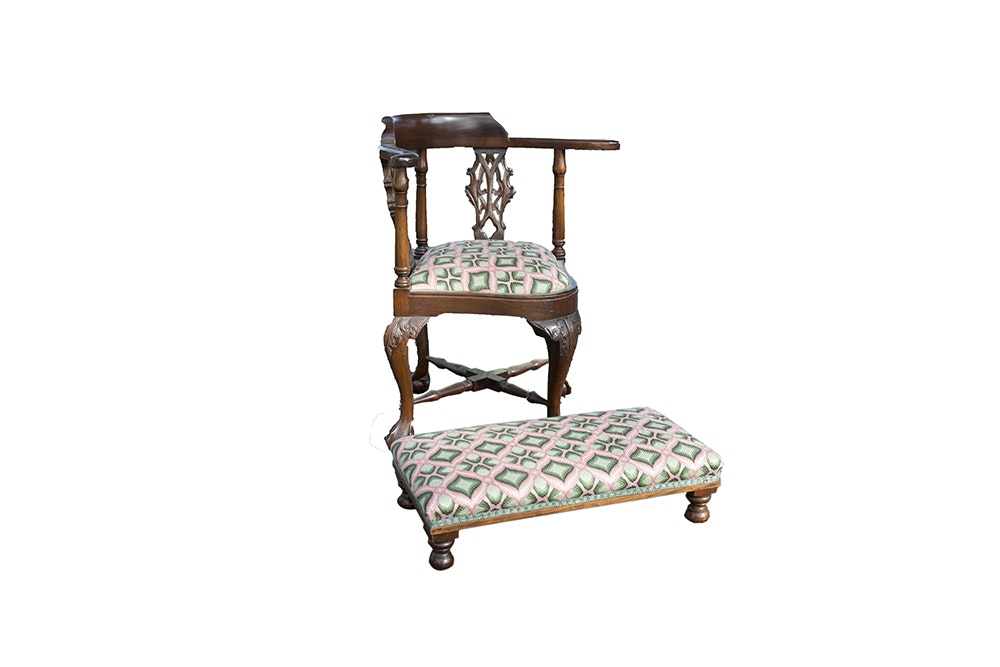 Edwardian Chippendale Style Corner Chair And Footstool