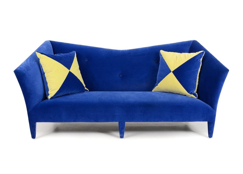 Contemporary Donghia Royal Blue Velvet Sofa EBTH