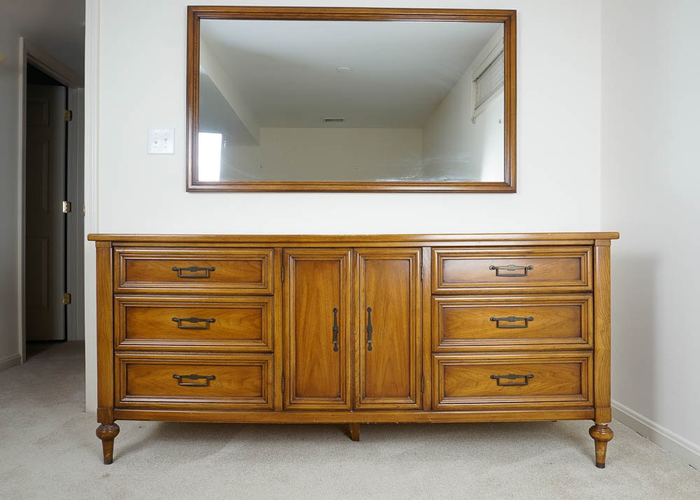 White Fine Furniture Butternut Low Chest With Large Mirror ...