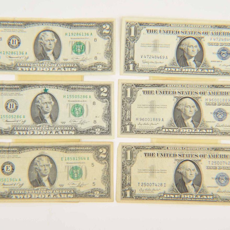Three Two Dollar Bills And Three One Dollar Silver Certificates Ebth
