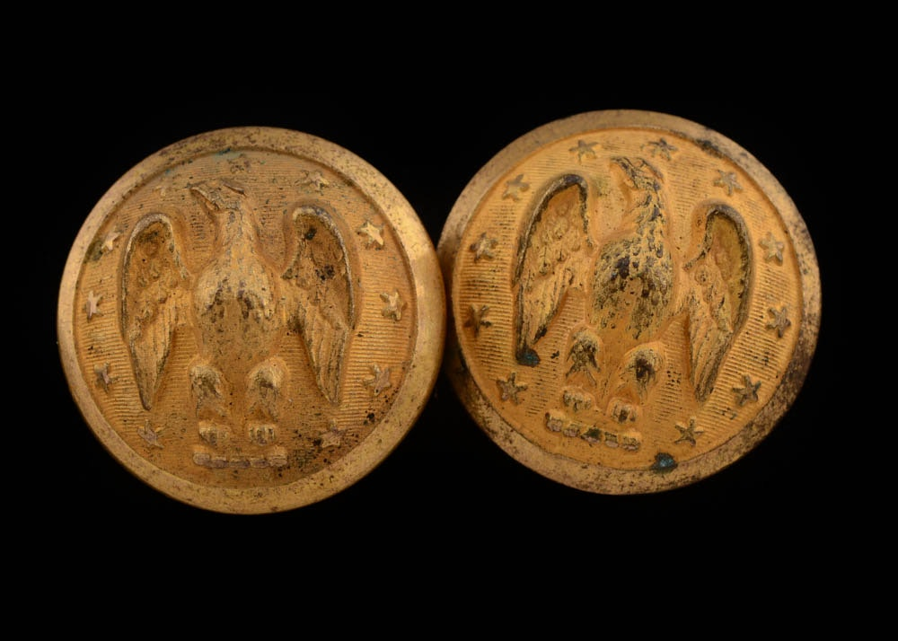 Two Civil War Confederate Army Uniform Buttons