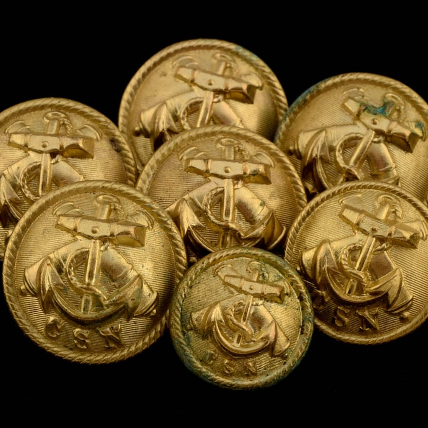 Seven Civil War Confederate Army Navy Uniform Buttons