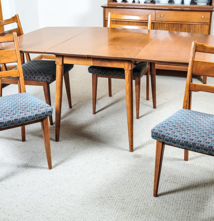 mid century modern baumritter birch dining table and chair ebth. Black Bedroom Furniture Sets. Home Design Ideas