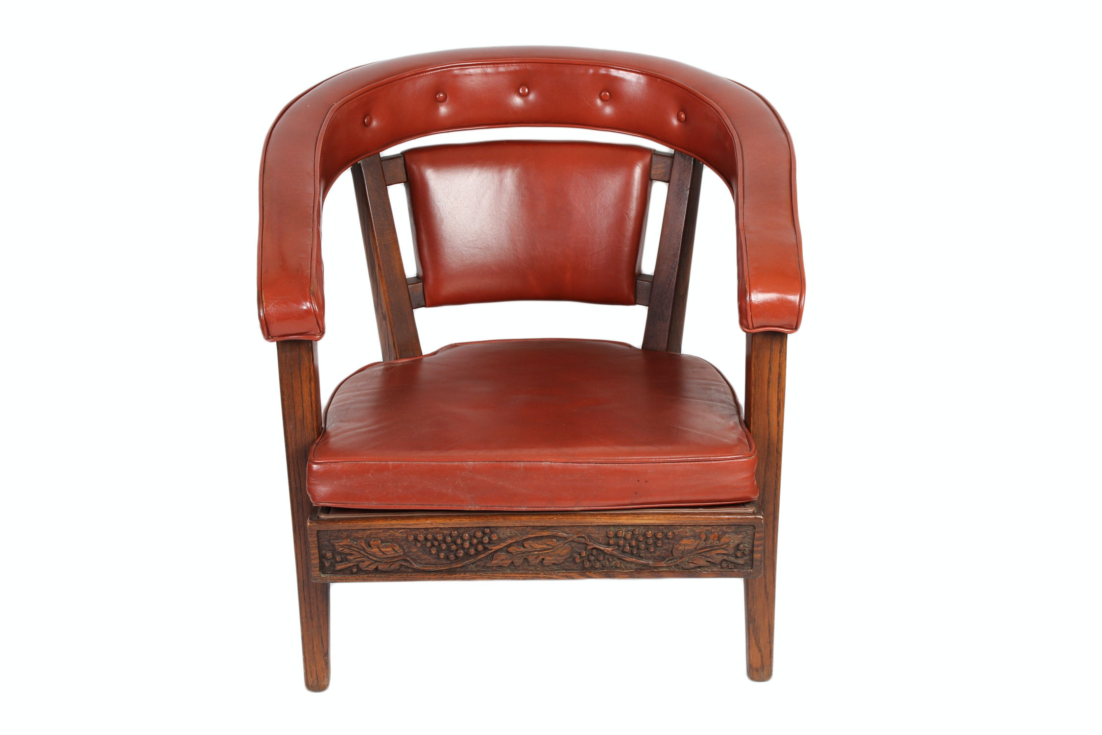 Vintage Carved Wood Vinyl Side Chair And Armless Chair Ebth