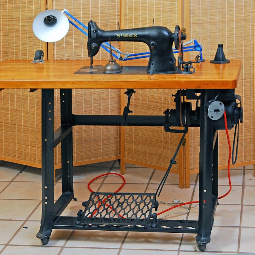 Vintage Singer CommercialGrade Sewing Table EBTH Delectable Commercial Grade Sewing Machine