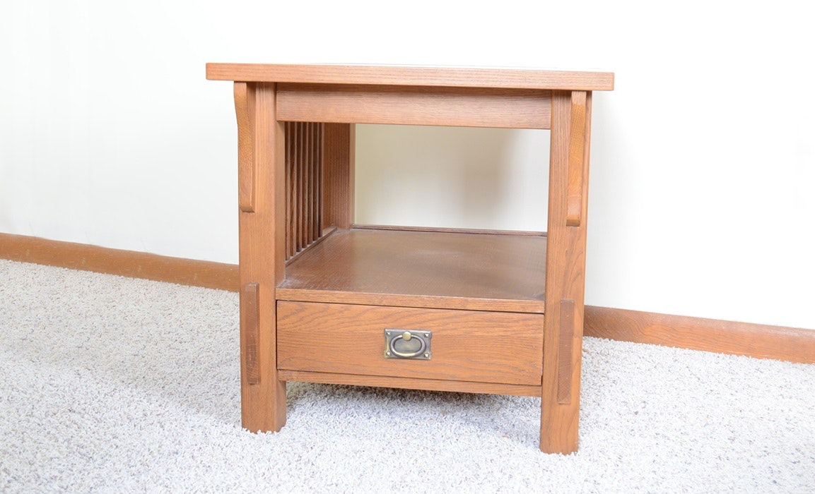 Bassett Oak Mission Style End Table ...