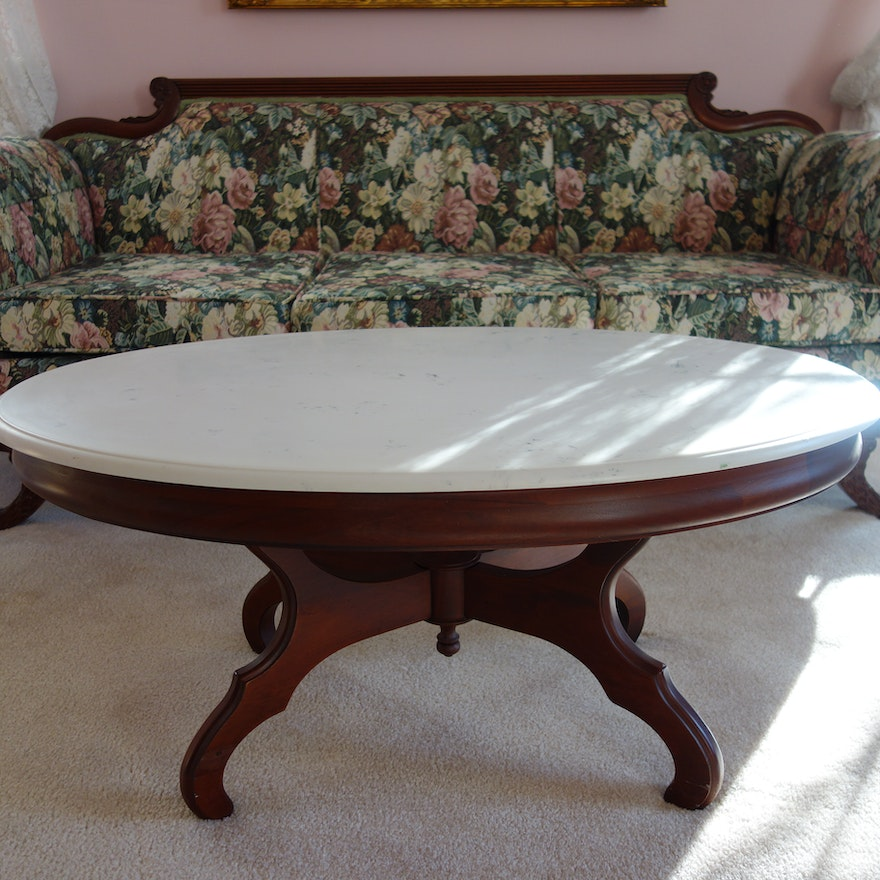 Victorian Style Marble Top Oval Coffee Table Ebth