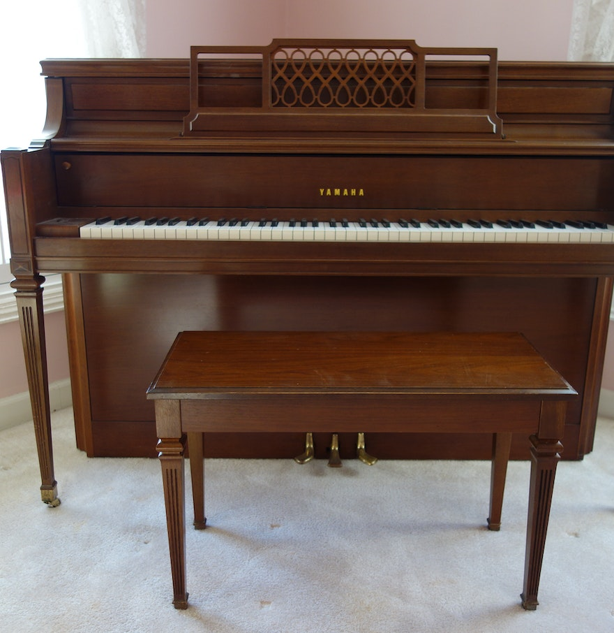 Upright yamaha console piano with bench ebth for Yamaha piano upright
