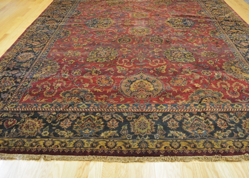 Beautiful Large Mahal Hand Knotted Wool Area Rug Ebth