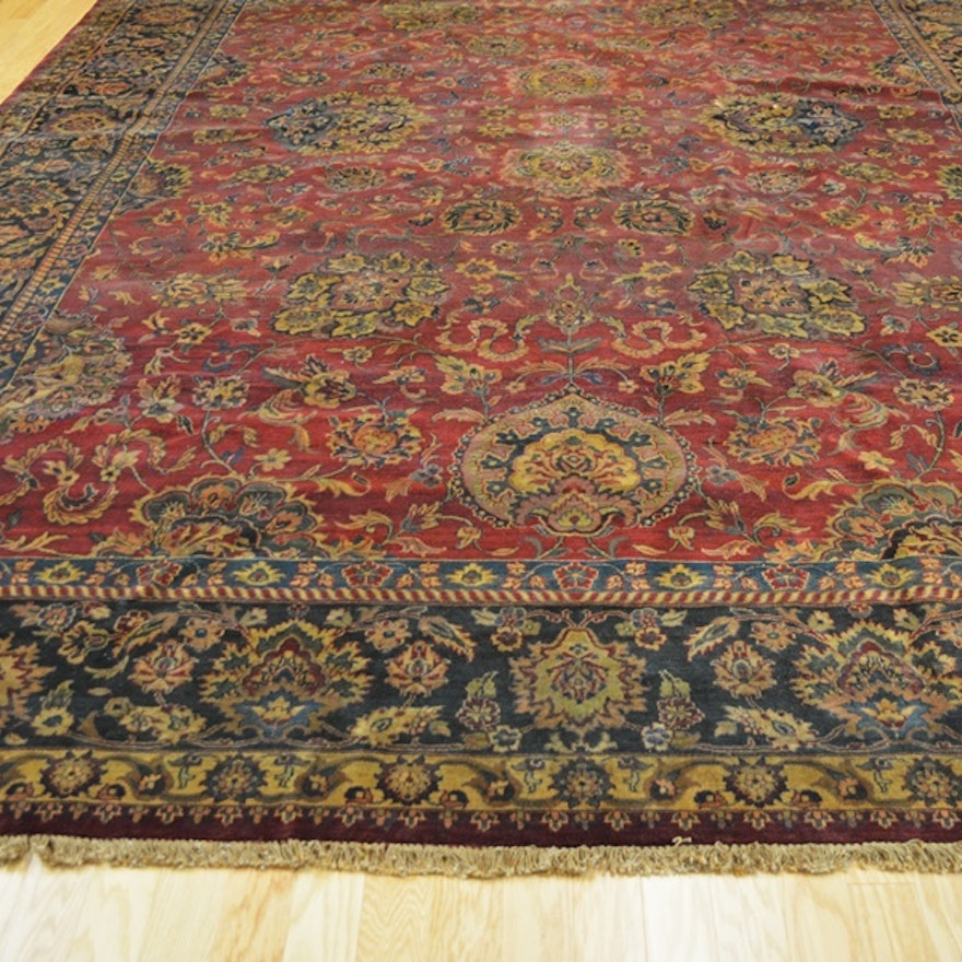 Hand Knotted Persian Wool Area Rug Ebth: Beautiful Large Mahal Hand-Knotted Wool Area Rug : EBTH