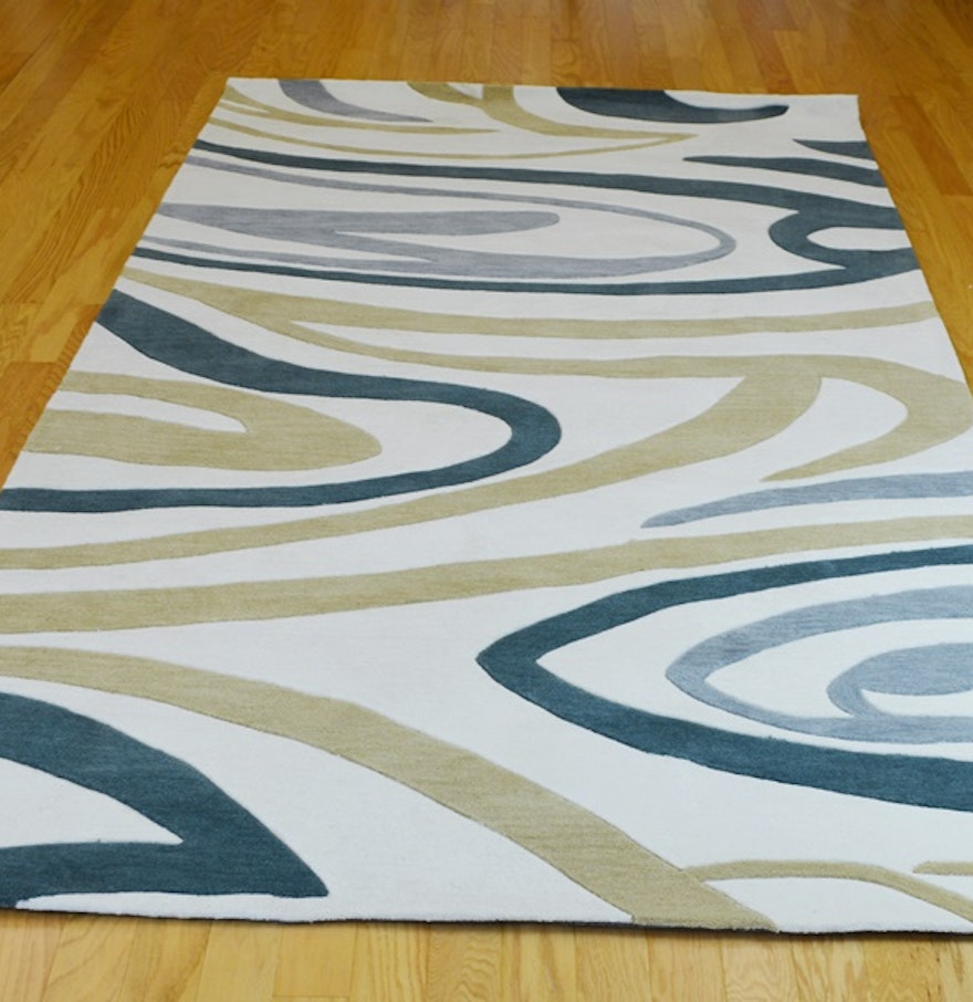 Contemporary swirl custom machine made synthetic area rug for Custom made area rugs