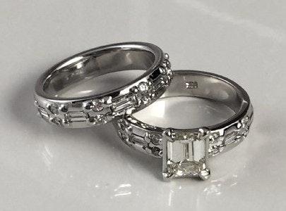 14K White Gold 1.5 Carat Diamond Engagement Ring and Wedding Band