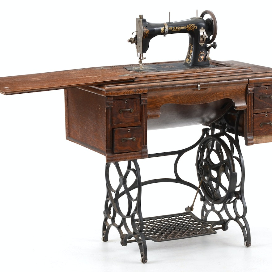 New Mansion Treadle Sewing Machine EBTH Stunning Trundle Sewing Machine