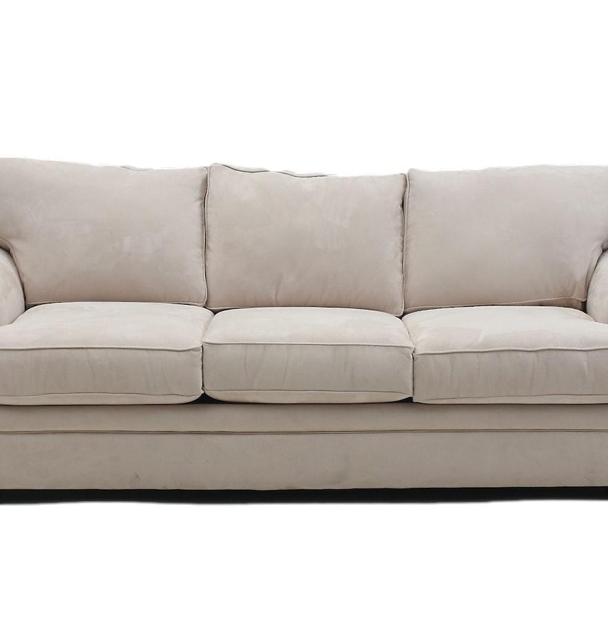 White Microsuede Sofa Ebth