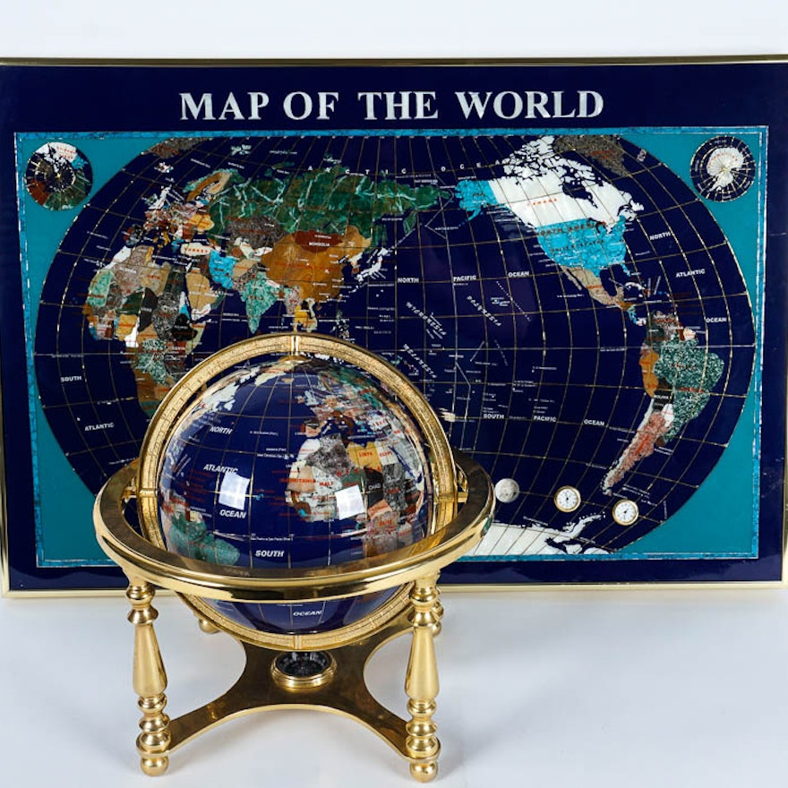 Semi precious stone inlaid world map and globe pair ebth semi precious stone inlaid world map and globe pair gumiabroncs Gallery