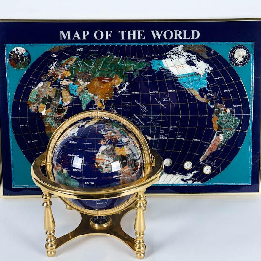 Semi precious stone inlaid world map and globe pair ebth semi precious stone inlaid world map and globe pair gumiabroncs Choice Image