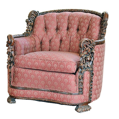 Antique Hand Carved Upholstered Red Chair - Vintage Chairs, Antique Chairs And Retro Chairs Auction In