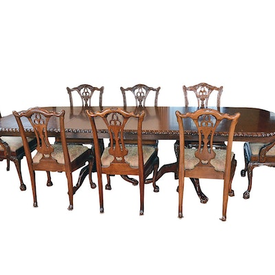 Vintage Mahogany Chippendale Style Dining Table And Chairs