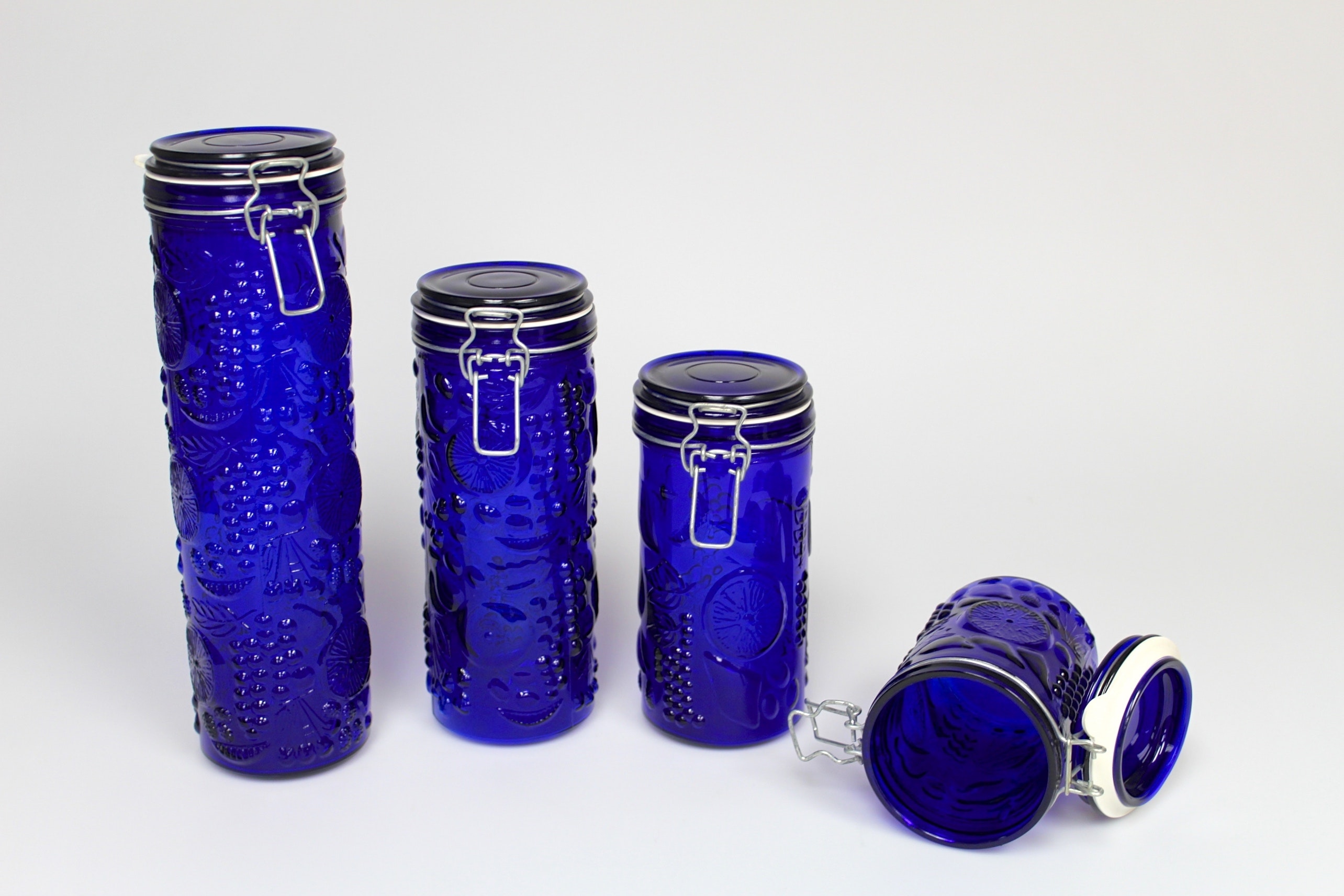 Cobalt Blue Glass Kitchen Canisters ...