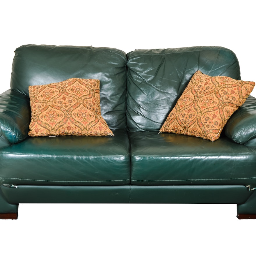 Green Leather Loveseat Ebth