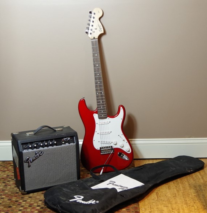 squier electric guitar and fender frontman 15g amplifier ebth. Black Bedroom Furniture Sets. Home Design Ideas