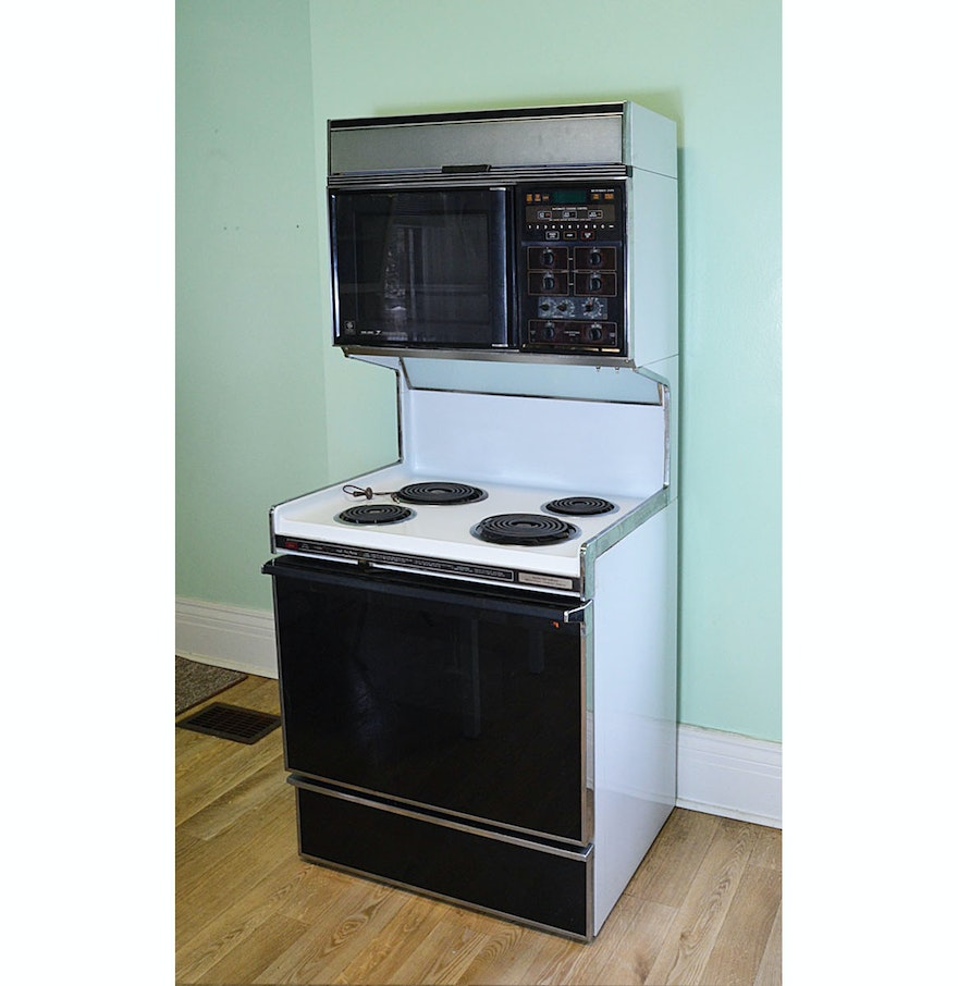 1986 Ge Electric Range Oven With Top Microwave