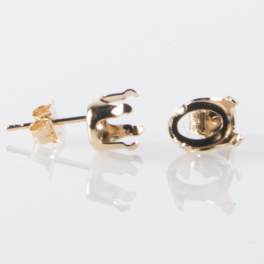 14kt Yellow Gold Oval Earring Castings
