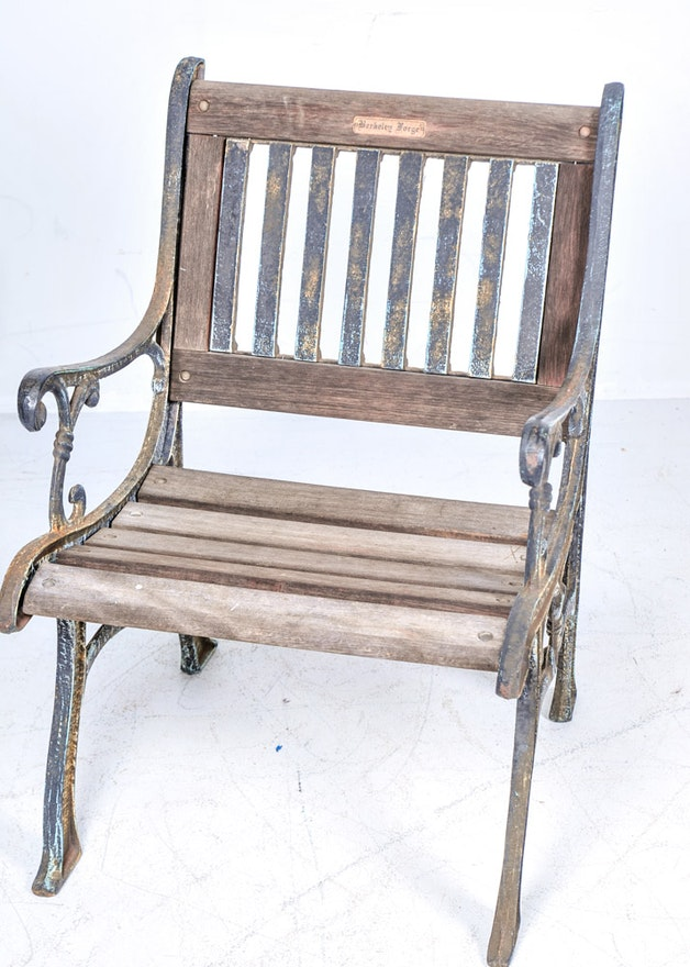 Vintage Berkeley Forge Cast Iron and Wood Garden Chair | EBTH