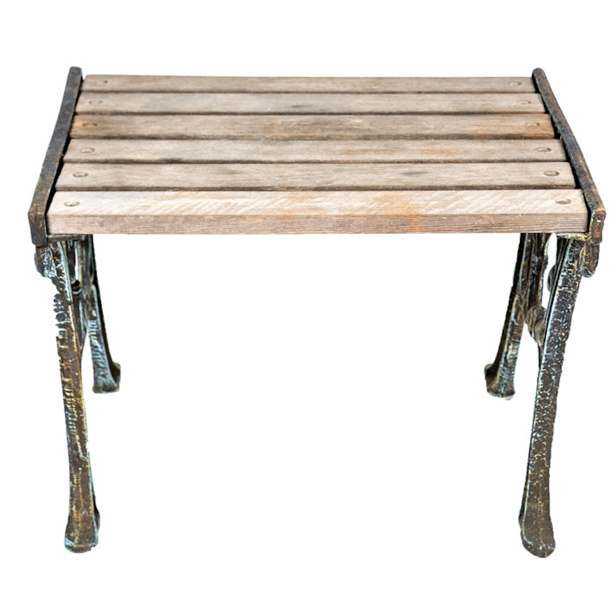 Swell Vintage Berkley Forge Cast Iron And Wood Garden Table Theyellowbook Wood Chair Design Ideas Theyellowbookinfo