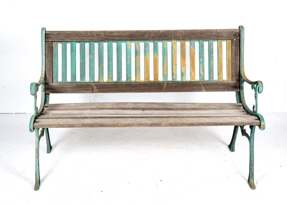 Superieur Vintage Berkely Forge Cast Iron And Wood Garden Bench ...