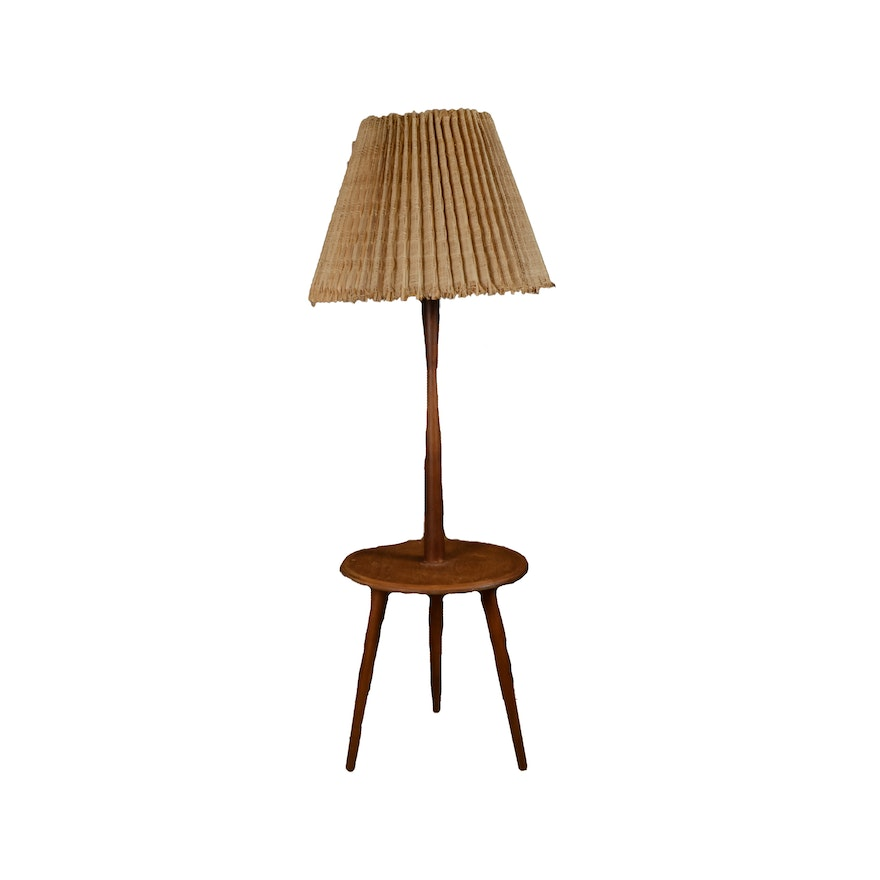 Vintage wooden floor lamp with table and straw shade ebth vintage wooden floor lamp with table and straw shade aloadofball Choice Image