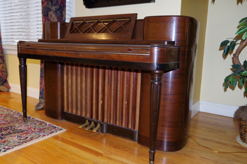 Wurlitzer 590 Upright Pedal Piano with Art Deco Detailing