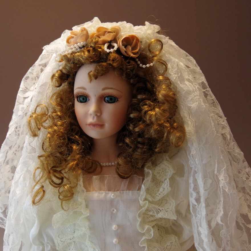 Goldenvale Collection Porcelain Doll in Victorian Style Bridal Gown ...