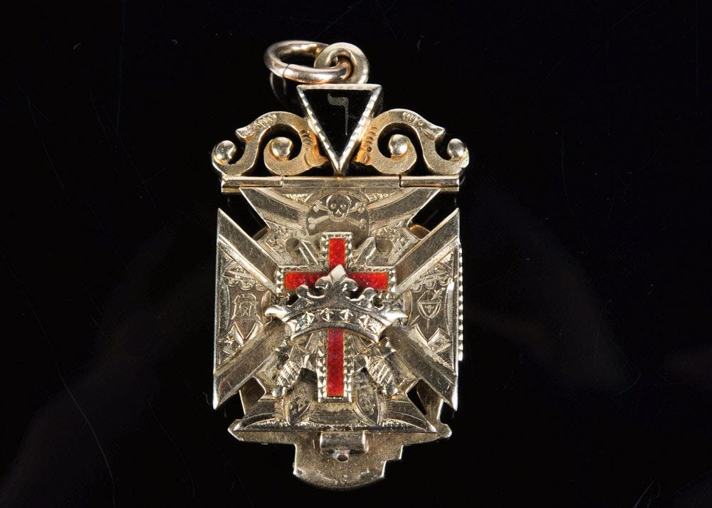 32nd Degree Masonic Triple Insignia 14K Yellow Gold Medal
