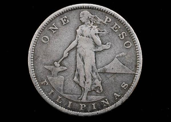 1907 S One Peso Filipinas Silver Coin Ebth