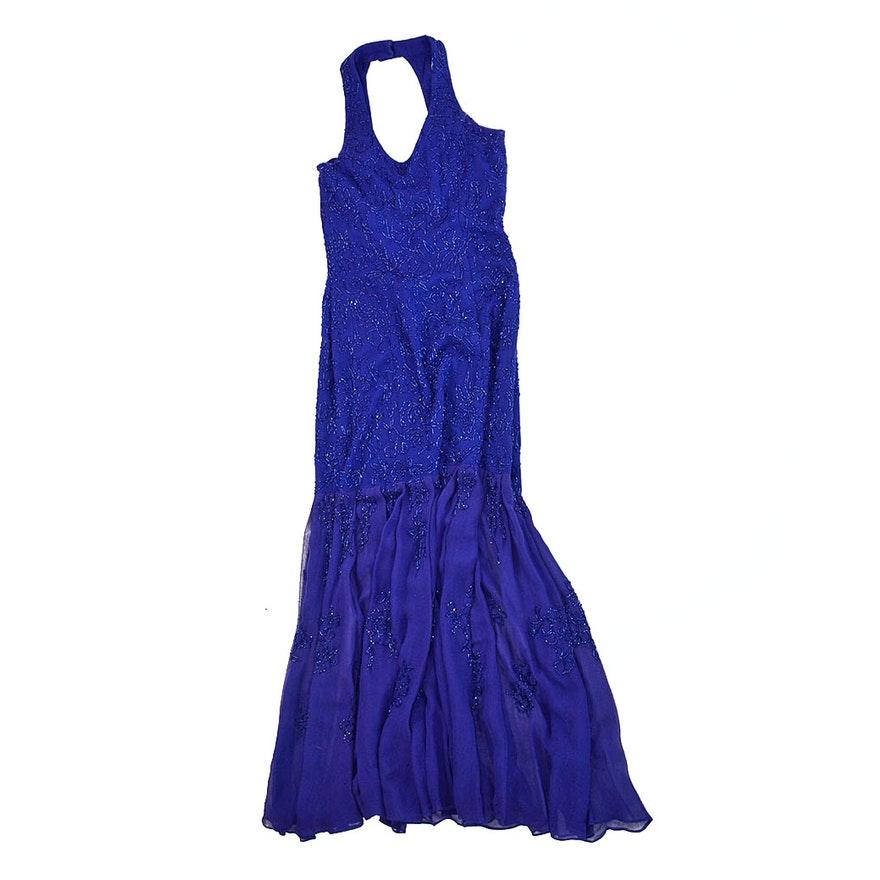 Vintage Carmen Marc Valvo Beaded Evening Gown : EBTH