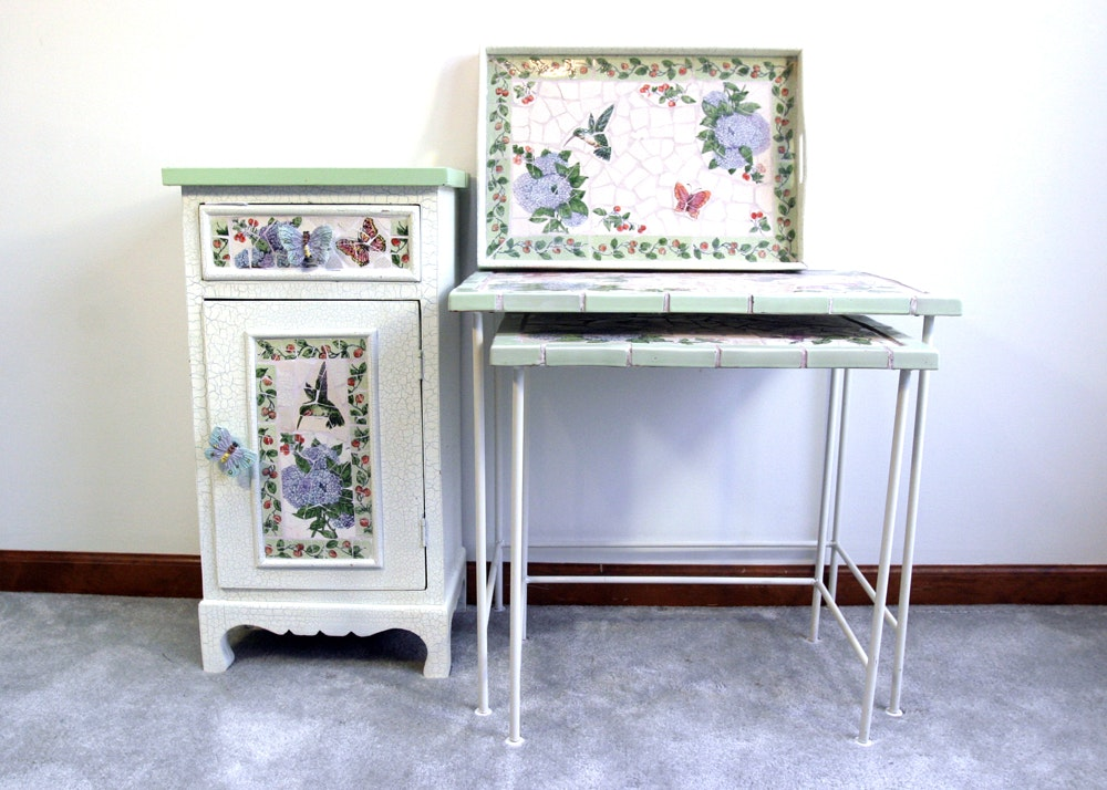 Tile Top Cabinet with Nesting Tables and Tray