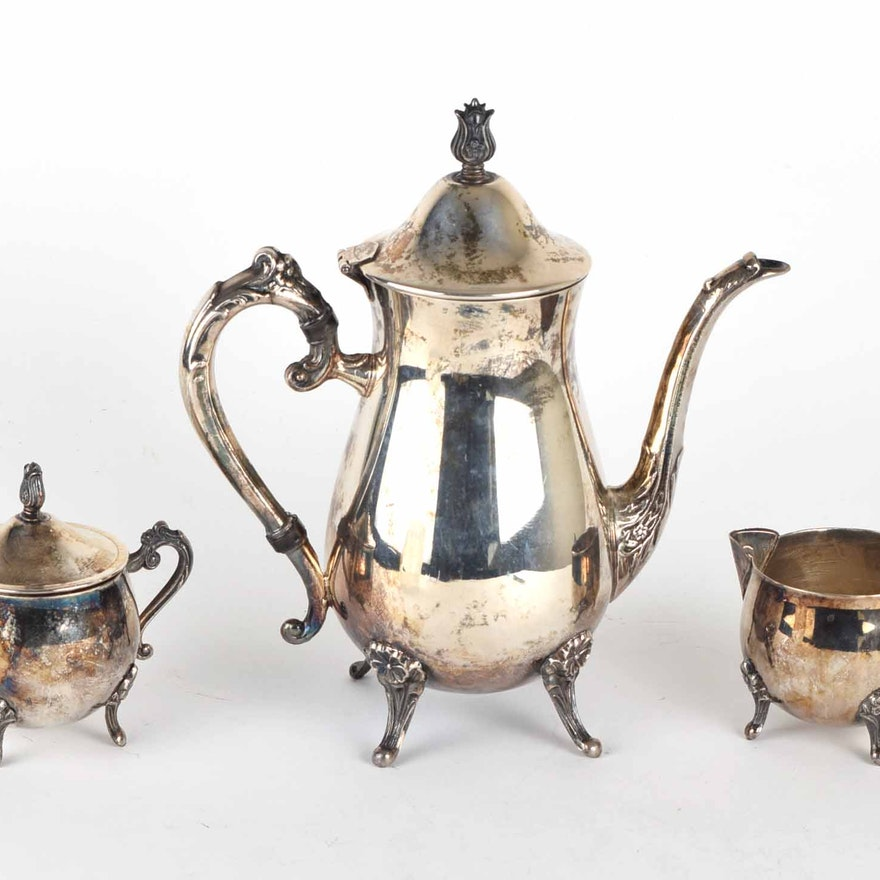 Leonard Silver Plate Three-Piece Coffee Set : EBTH