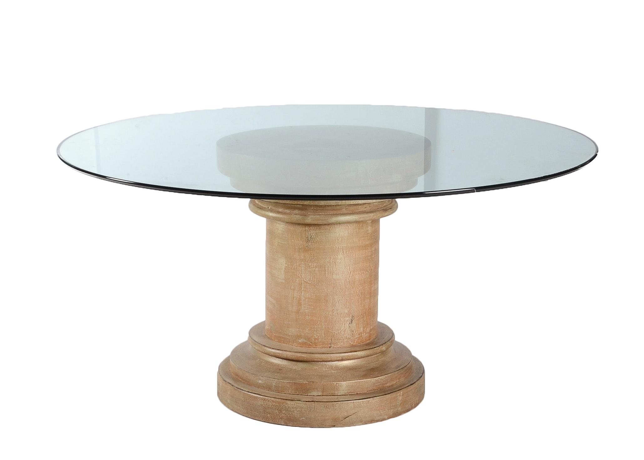 Glass Top Pedestal Dining Table Ebth