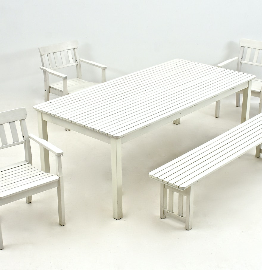 Ikea Outdoor Furniture Set In White Ebth