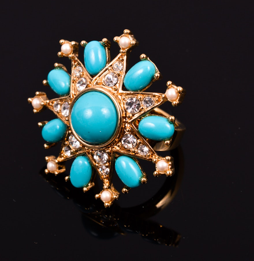 Carolee lux turquoise colored fashion ring size 7 ebth for Turquoise colored fashion jewelry