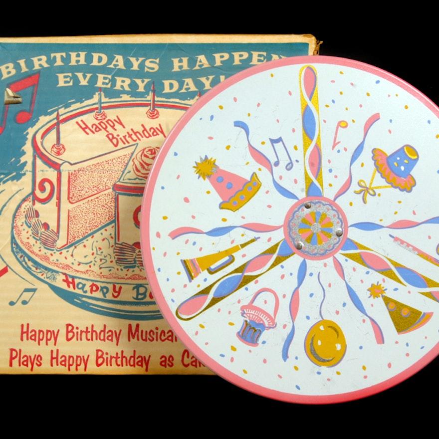 Vintage Happy Birthday Musical Cake Plate EBTH